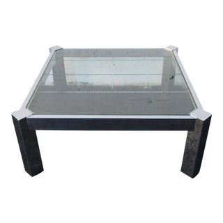 Mid Century Chrome Etched Glass Top Coffee Square Table Milo Baughman Style For Sale