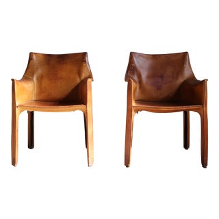 1980s Vintage Mario Bellini Cassina Cab Chairs - a Pair