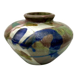 20th Century Abstract Multi-Colored Drip Glaze Studio Pottery Vase