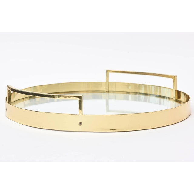 1960s Mid-Century Brass and Glass Italian Modernist Tray For Sale - Image 5 of 11