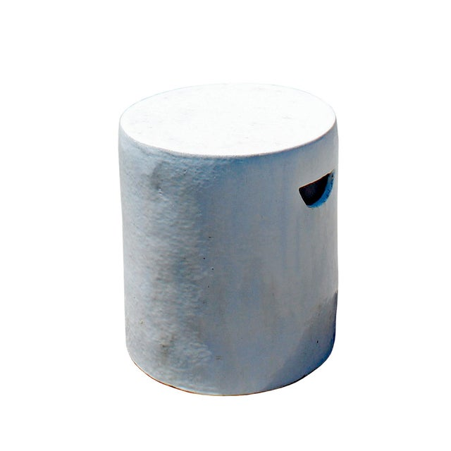 2020s Chinese Ceramic Clay Off White Glaze Round Flat Column Garden Stool For Sale - Image 5 of 6