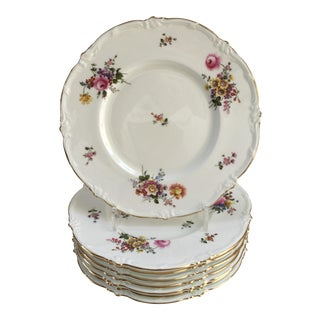 English Royal Cauldon Pink & Gold Floral Fine China Dinner Plates - Set of 8