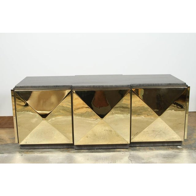 Contemporary Paul Marra Brass Tile Cocktail Table/Bench For Sale - Image 3 of 8