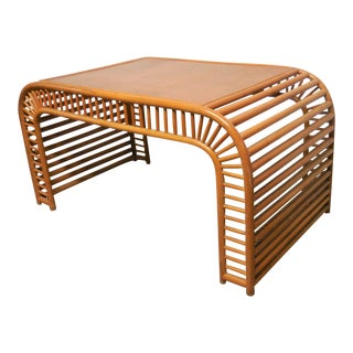 Rattan Waterfall Desk Style of Henry Olko For Sale