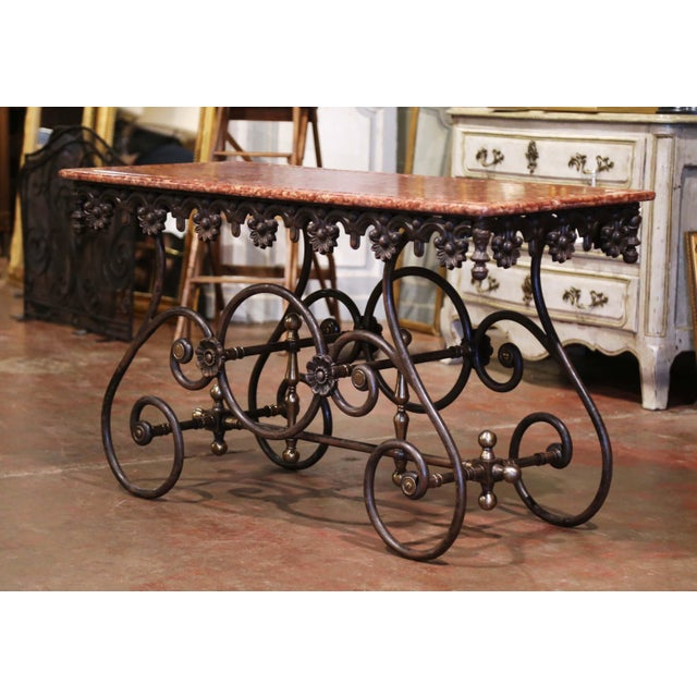 French French Polished Iron and Brass Pastry Table With Variegated Red Marble Top For Sale - Image 3 of 11