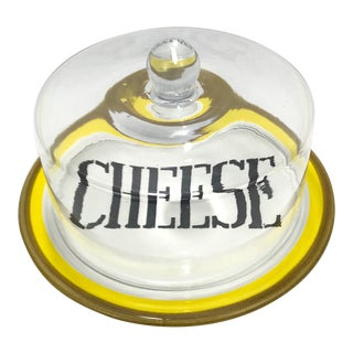 Italian Cheese Plate & Glass Dome For Sale