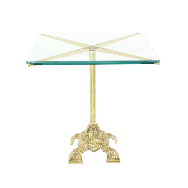 Cast Brass Base and Glass-Top Side Table For Sale