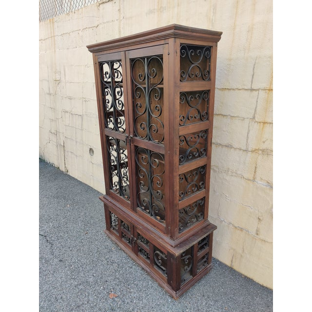 Vintage Mediterranean Wood Scrolled, Wrought Iron China Cabinet