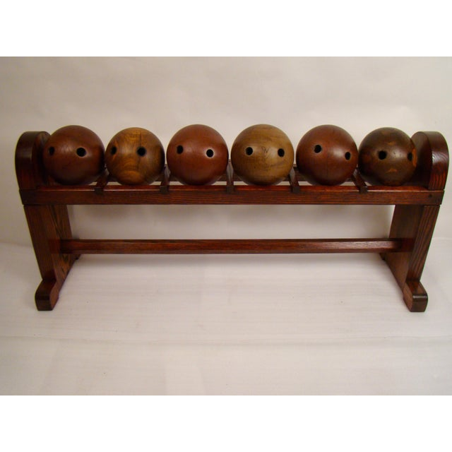 Mid-Century Modern Lignum Vitae Antique Bowling Balls in Rack - Set of 6 For Sale - Image 3 of 12