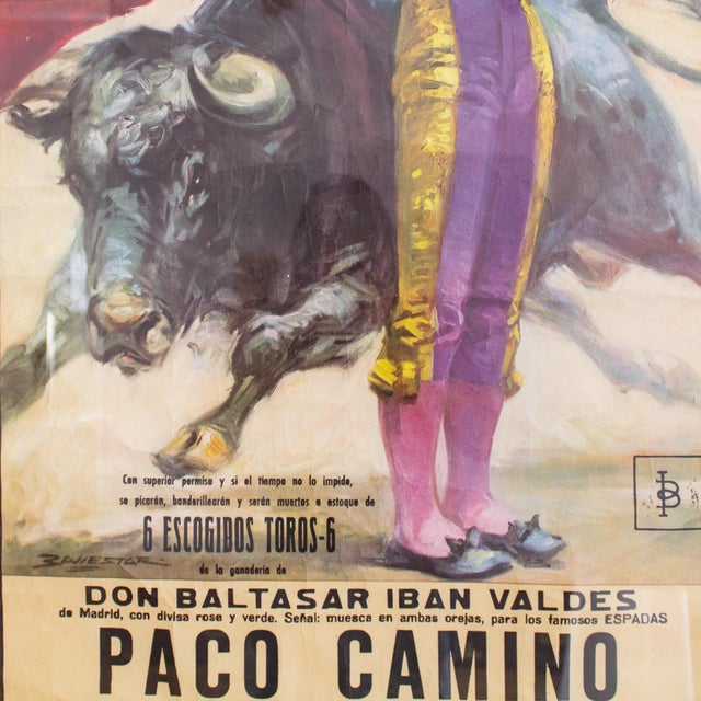 Impressionism Vintage 1970's Bullfighting Poster Framed in Acrylic From Spain For Sale - Image 3 of 11