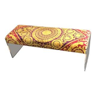 Modern Gianni Versace Custom Made Velvet Baroque Bench For Sale