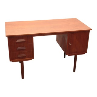 Vintage Danish Mid Century Modern Teak Desk For Sale