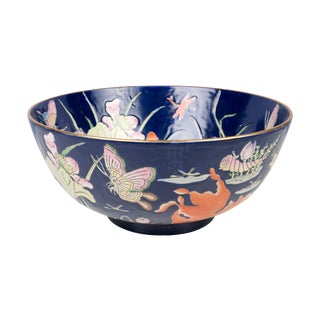 Oriental Blue Porcelain Gold Fish Motif Bowl For Sale