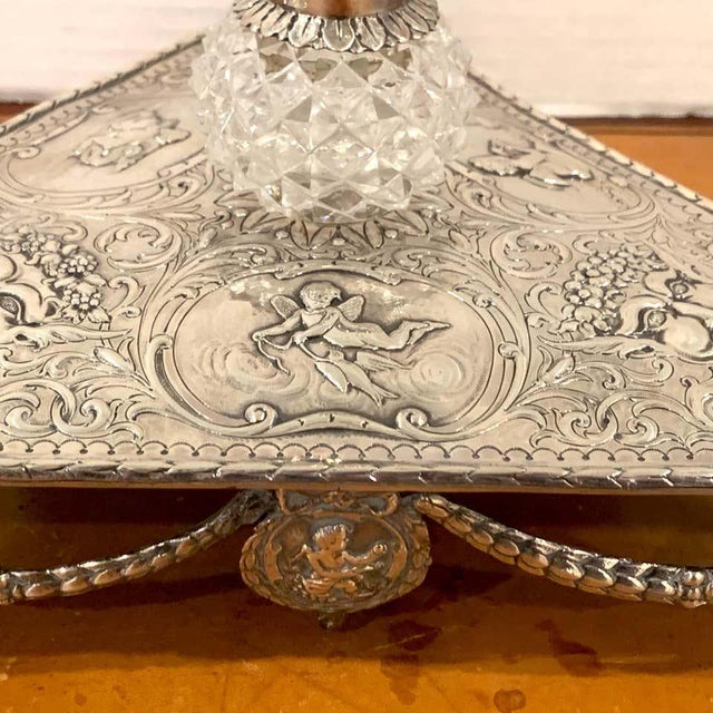 Metal Georgian Sterling and Cut Glass Triangular Inkstand, London, 1777 For Sale - Image 7 of 13