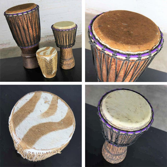 Trio of Tribal Drums Carved Wood and Animal Hide For Sale - Image 11 of 13