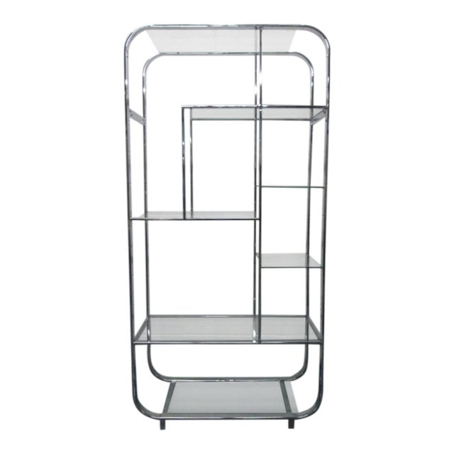 Curved, Chrome Etagere Manner of Design Institute of America For Sale