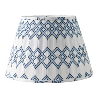 "Blue Lattice 14"" Lamp Shade, White For Sale"