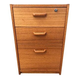 Danish Teak File Cabinet on Casters by Jesper For Sale