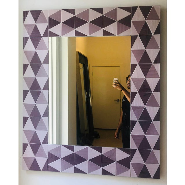 Lavender and Mauve Rectangular Geometric Opaline Glass Mirror For Sale - Image 4 of 8