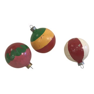 Vintage Glass Holiday Ornaments - Set of 3