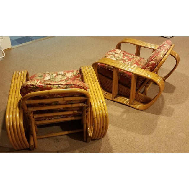 Bamboo Mid-Century Vintage Paul Frankl Style Bamboo Rattan Lounge Chairs - a Pair For Sale - Image 7 of 11