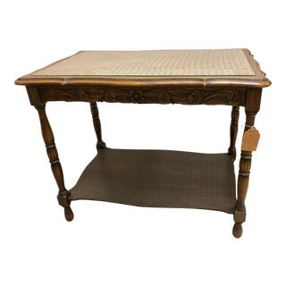French Caned and Glass Topped Coffee Table