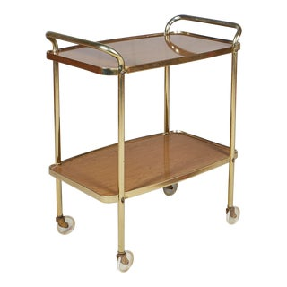 1960s Laminated Two-Shelf Rolling Serving Cart For Sale