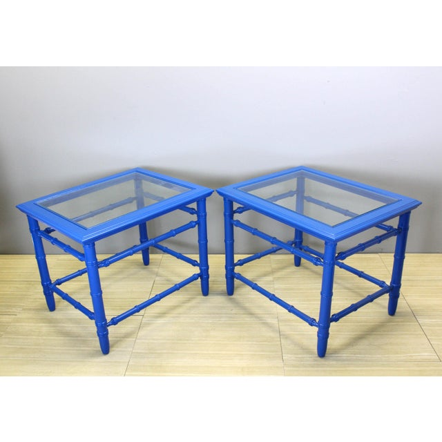 Stunning pair of Mid-century side tables This side tables have been beautifully painted in a royal blue gloss Solid built,...
