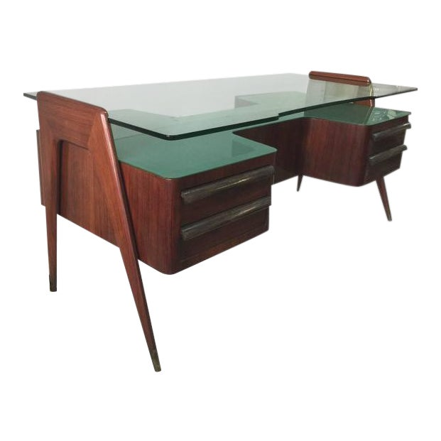 Rosewood Desk by Paolo Buffa with Floating Glass Top For Sale
