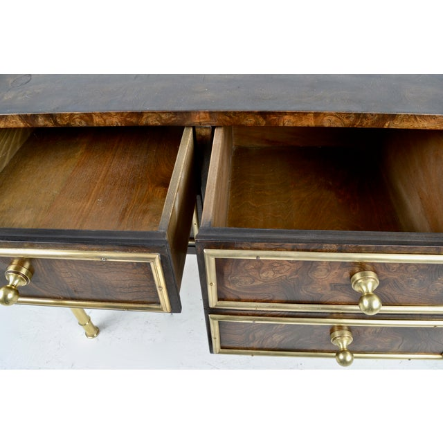 Brass Mastercraft Burled Wood Chest on Stand 1970s For Sale - Image 7 of 9