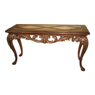 Traditional Drexel Carved Wood and Glass Top Sofa/Console Table For Sale