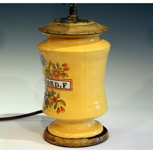 1920s Antique French Country Pottery Faience Provence Confit Albarello Jar Lamp For Sale - Image 5 of 11