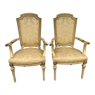 Mid-Century Karges French Empire Style Armchairs Bergeres- a Pair For Sale