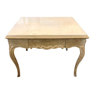 Antique Italian Paint Decorated Marble Top End Table For Sale