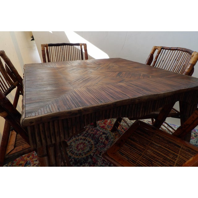 Florida Rattan and Bamboo Folding Game Table With Six Folding Chairs - 7 Pieces For Sale - Image 4 of 9