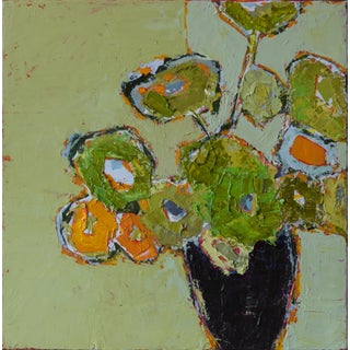 "Bill Tansey "" Green Wall"" Abstract Floral Oil Painting on Linen, Framed For Sale"