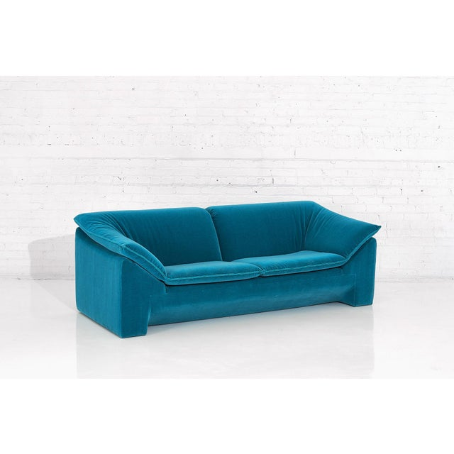"Niels Eilersen ""Arizona"" Sofa in Teal Mohair, circa 1970. Sofa was designed by Jens Juul Eilersen for his family company."