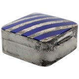 Image of Cartier Sterling Silver and Blue Enamel Pill Box For Sale