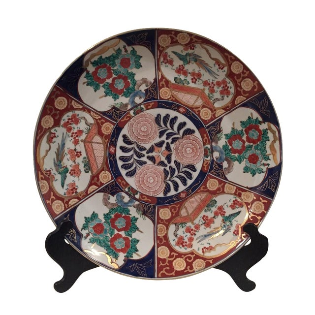 Oversized Vintage Chinoisoire Hand-Painted Imari Porcelain Charger For Sale