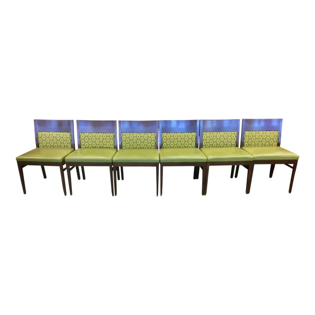 Verdant Green Patterned Dining Chairs - Set of Six - Image 1 of 7