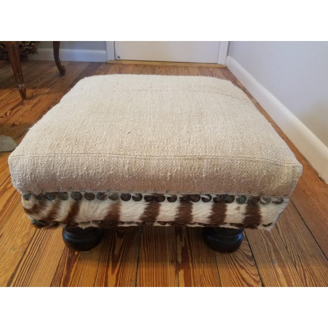 2000s Boho Chic French Linen and Zebra Foot Stool For Sale - Image 5 of 5