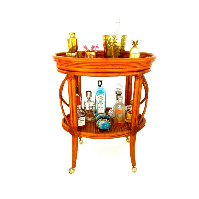 Vintage Ethan Allen Bamboo Rattan Bar Cart - Image 2 of 8