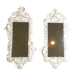 White Sea Shell Mirrors - a Pair For Sale