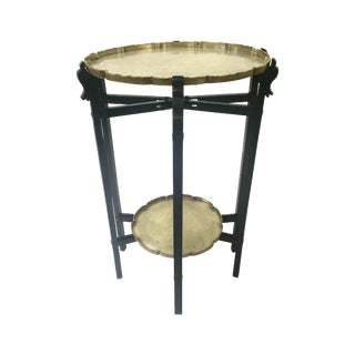 Carved Ebony Folding Table With Etched Brass Trays For Sale