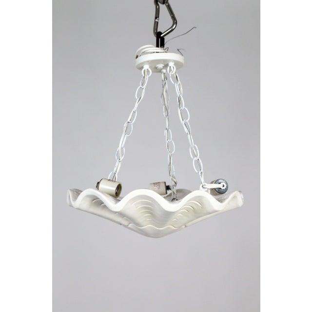 Casella Lighting White Vintage Casella Undulating Shell Pendant Light For Sale - Image 4 of 10