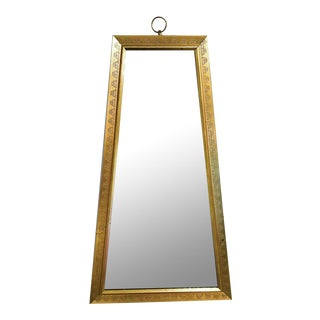Mid Century Gilt Trapezoid Mirror, Signed For Sale
