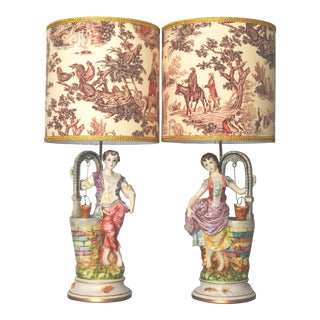 "Porcelain Figural Lamps W/ Custom Shades""Capodimonte-Style"" - a Pair"