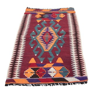 1960s Vintage Petite Turkish Tribal Kilim Rug - 2′2″ × 3′4″ For Sale