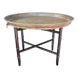 Folding Faux Bamboo Brass Tray Table