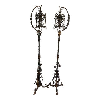 Antique Custom Made Art Nouveau Floor Lamps - a Pair For Sale